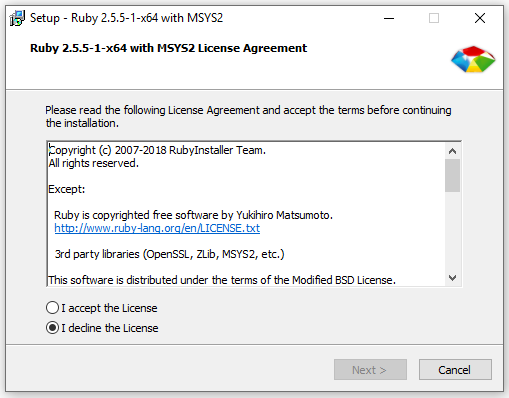 Ruby Install Windows License Agreement