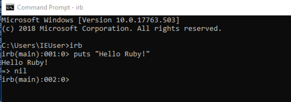 Ruby Shell Windows